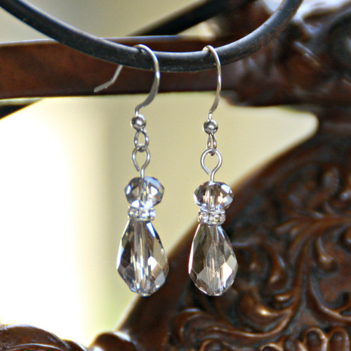 IS-645  Platinum Crystal Drop Earrings for Any Occasion