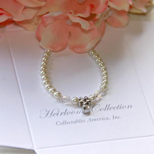 "CJ-388-5  Flower Girl Crystal & Glass Pearls 5"" Bracelet"