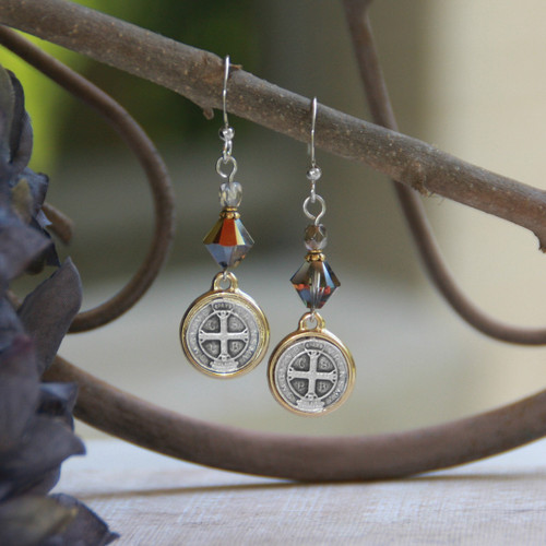IN-41  St. Benedict Swarovski Crystal Earrings