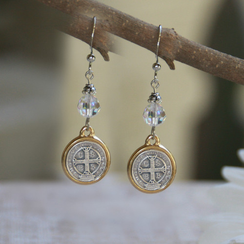 IN-35  St. Benedict Crystal AB Earrings