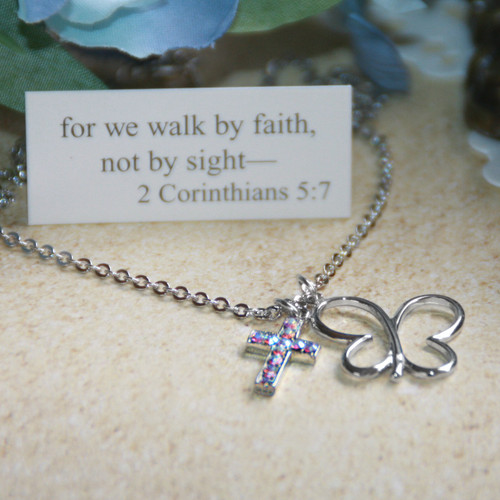 """IN-515  Butterfly """"Faith"""" Necklace...great for Teens and up!"""
