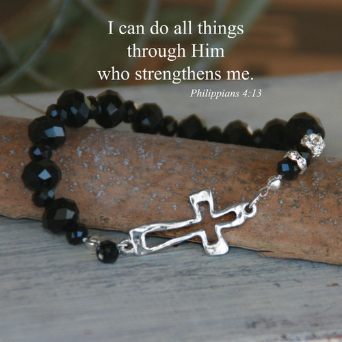 IN-158  Open Cross StretchyJet Crystal Bracelet...I can do all Things