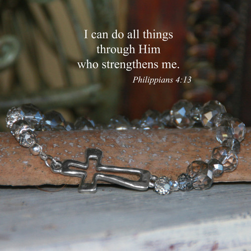 IN-159  Open Cross Stretchy Platinum Crystals Bracelet...I can do all Things