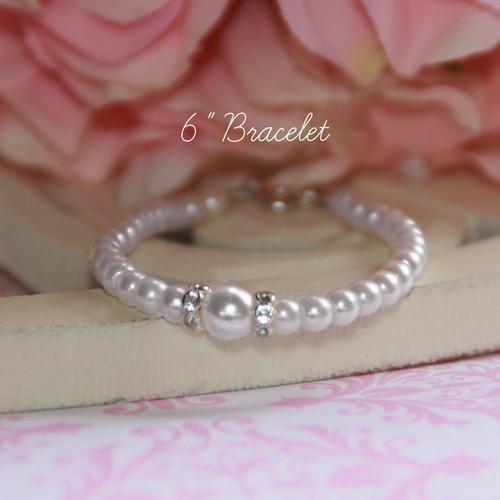 """CJ-117-6  Glass Pearls 6"""" Bracelet"""