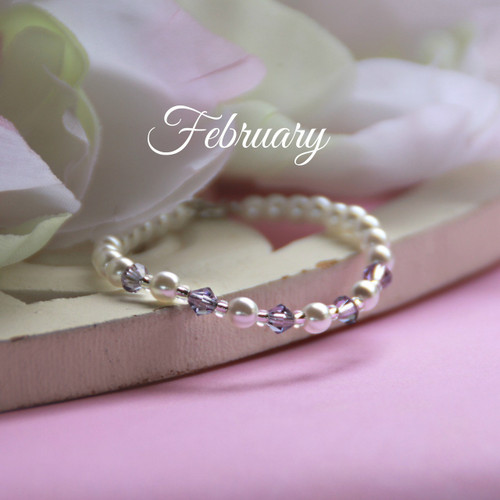 CJ-130  February Birthstone Bracelet 5""