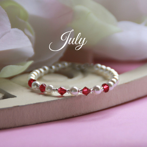 CJ-135  July Birthstone Bracelet 5""