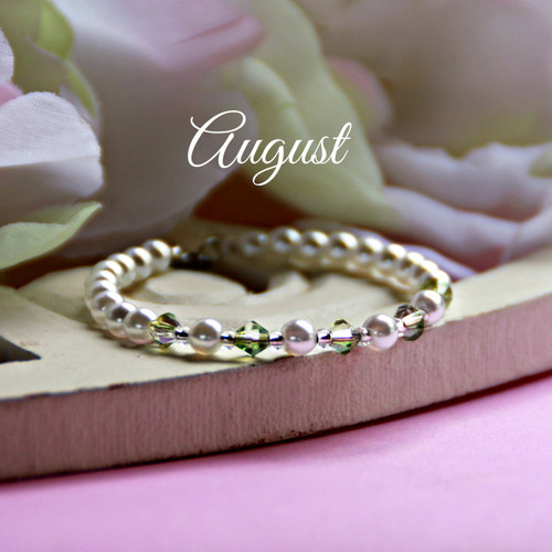CJ-136  August Birthstone Bracelet 5""