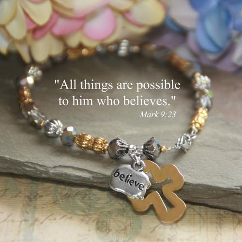 IN-372  Hammered cross Believe Bracelet