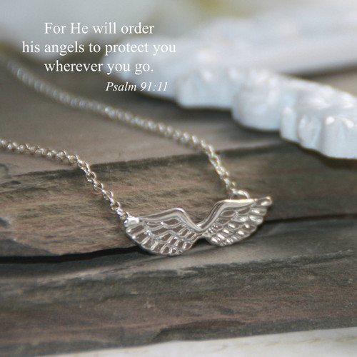 IN-540S  Angel Wings Necklace with Psalm 91:11 Scripture Silver Finisn