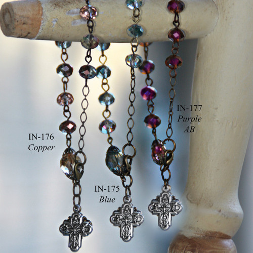 IN-177  Gorgeous Deep Purple AB Rosary Bracelet