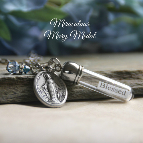 MM-BB  Mary Medal Message in a Bottle Necklace