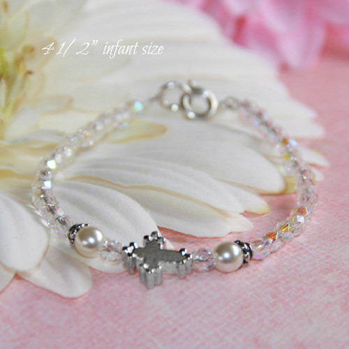 "CJ-436-4  Infant Cross Pearls and Crystal AB Bracelet 4 1/2"""