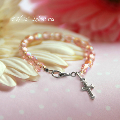 "CJ-430  Infant Beautiful Pink Crystals and Rhodium Cross Bracelet 4 1/2"""