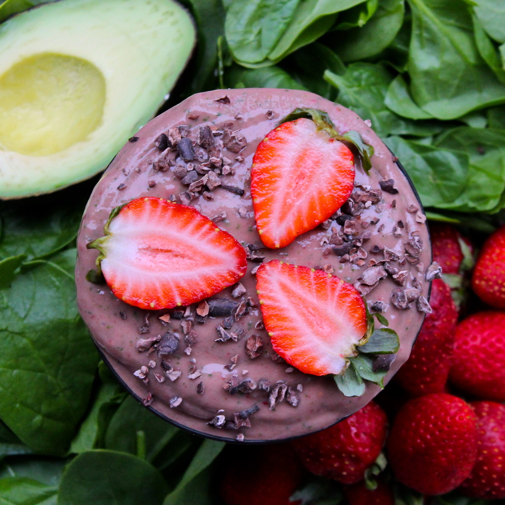 Chocolate Strawberry Spinach Smoothie