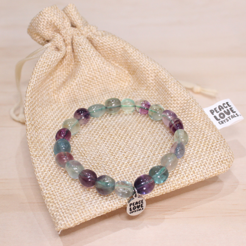 Rainbow Fluorite Pebble Bracelet