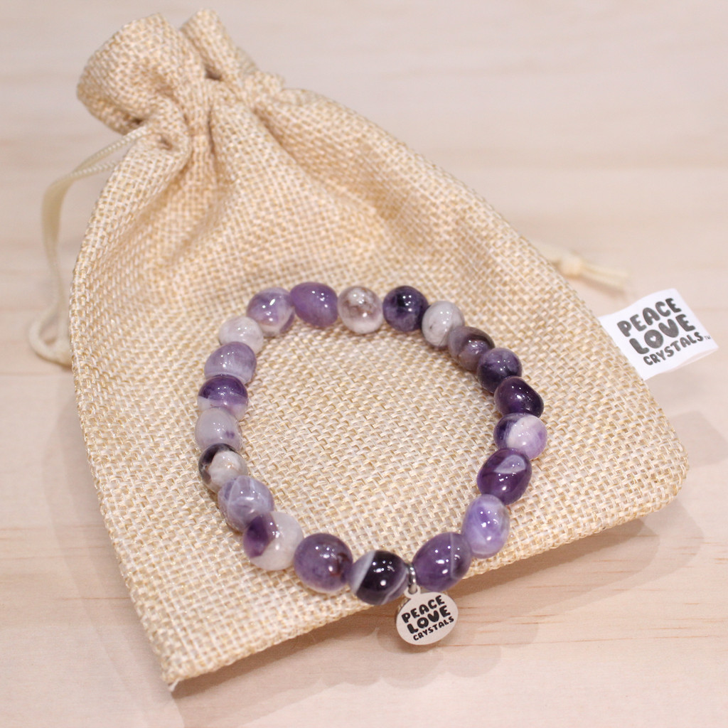 Chevron Amethyst Pebble Bracelet