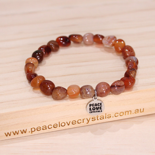 Fire Agate Pebble Bracelet