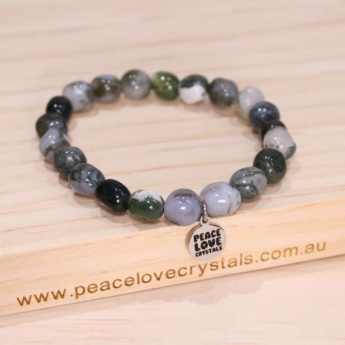 Green Moss Agate Pebble Bracelet