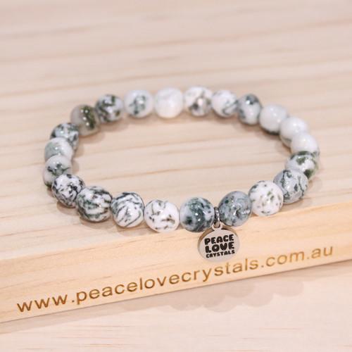 Tree Agate Pebble Bracelet