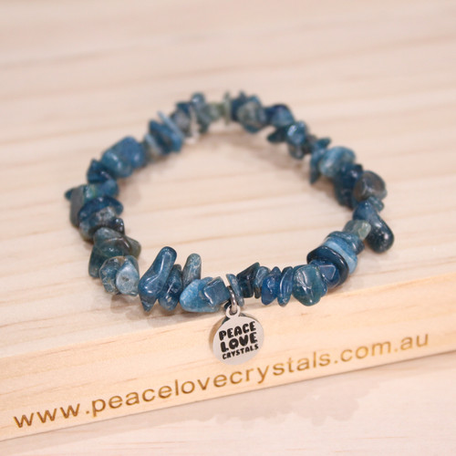 "Blue Apatite Chip Bracelet ""Intuitive Awareness and Inner Peace"""