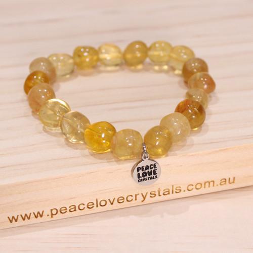 Yellow Fluorite Pebble Bracelet