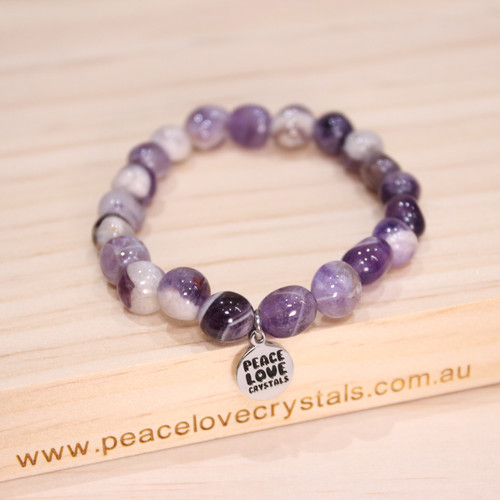 Chevron Amethyst Pebble Bracelet
