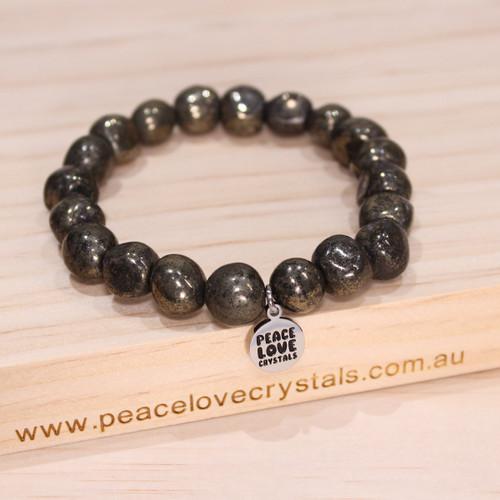 Healers Gold Pyrite in Black Magnetite Pebble Bracelet