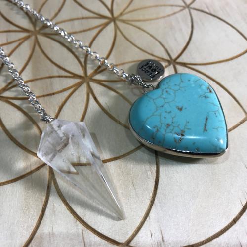 Quartz and Blue Howlite Heart Pendulum