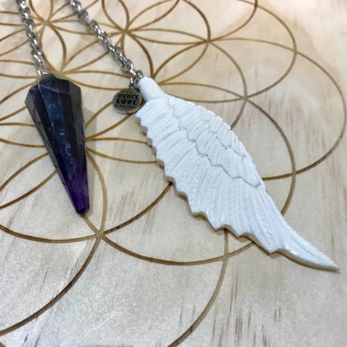 Chevron Amethyst Angel Wing Pendulum