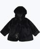 Black Faux Fur Hooded Coat