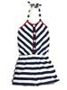 Girl Navy White Stripes Halter Romper
