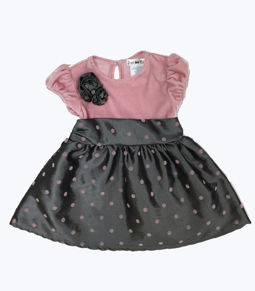 Gray & Pink Polka Dot Bubble Dress