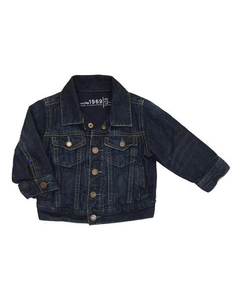 Dark Wash Jersey-Lined Denim Jacket, Baby Boy