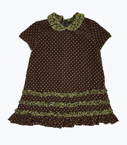 Brown Corduroy Short Sleeve Dress, Baby Girls