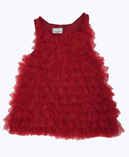 Red Chiffon Tulle Tiered Dress