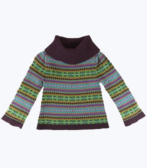 SOLD - Purple Fair Isle  Turtleneck Sweater