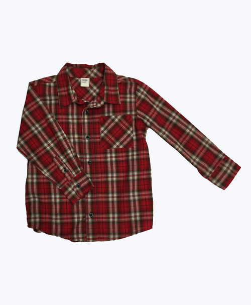 Red Plaid Button Up Shirt, Toddler Boys
