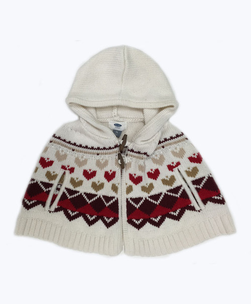 Heart Knit Poncho, Toddler Girls