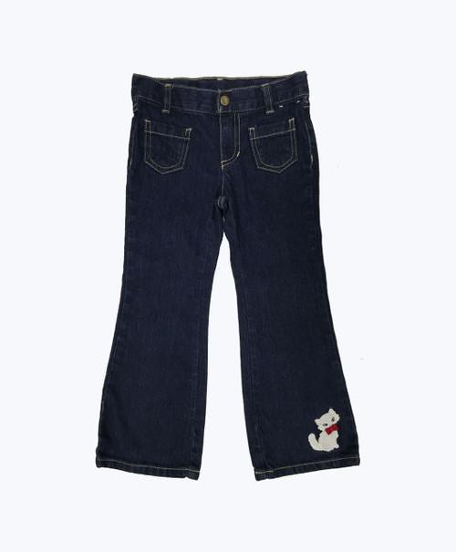 Kitten Appliqued Denim Jeans, Toddler Girls