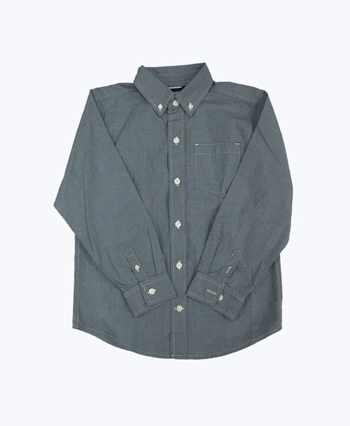 Boy Gingham Button Down Shirt - Blue