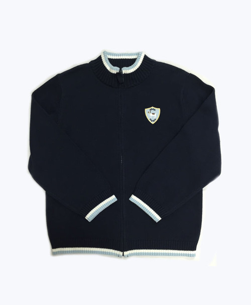 Zip-Up Cardigan - Navy