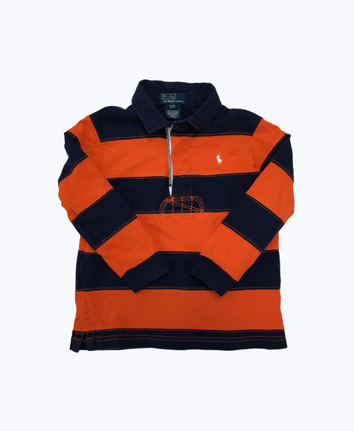 Orange Striped Rugby Shirt, Toddler Boys
