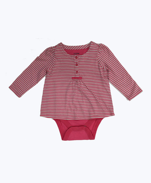 Red Striped Double Bodysuit, Baby Girls