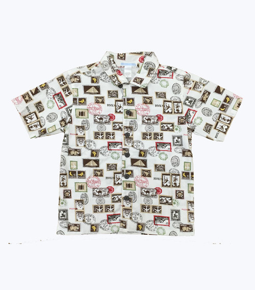 Monkey Travel Stamp Button Down Shirt