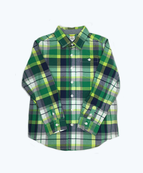 Boy Green and Black Plaid Shirt
