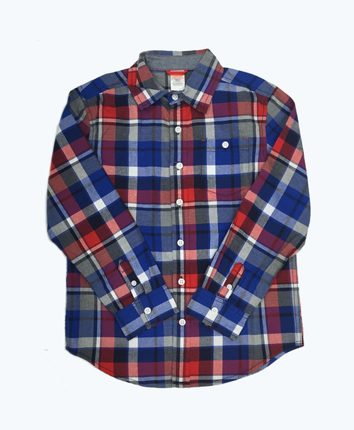 Boy Red and Blue Plaid Shirt