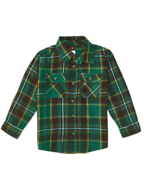 Flannel Button-Up Shirt, Little Boys