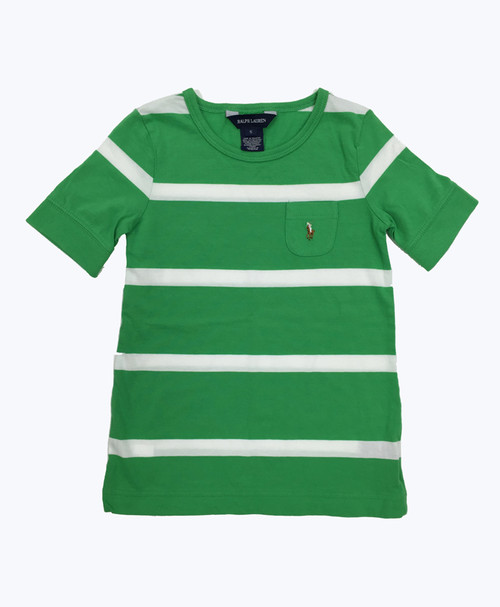 Green & White Striped Tee Shirt