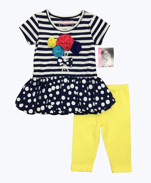 SOLD - Mixed Print Dress & Leggings Set
