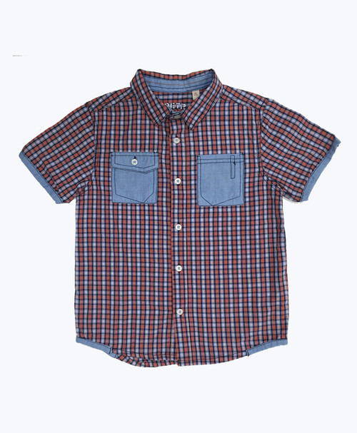 Plaid Short Sleeve Button Down Shirt